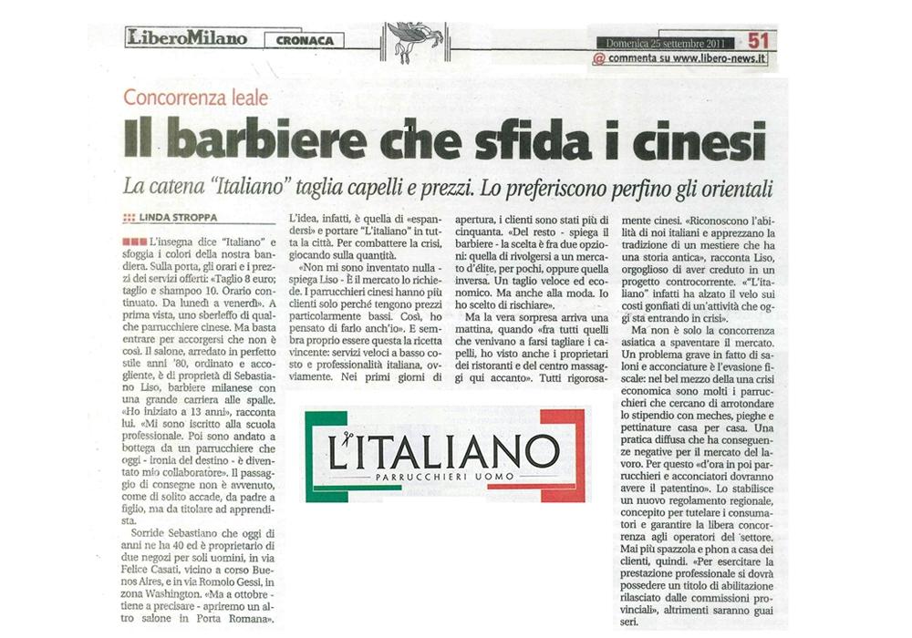L'Italiano Parrucchieri Milano articolo su Libero Cronaca Milano