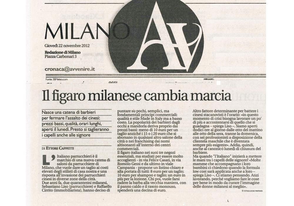 L'Italiano Parrucchieri Milano articolo su Avvenire