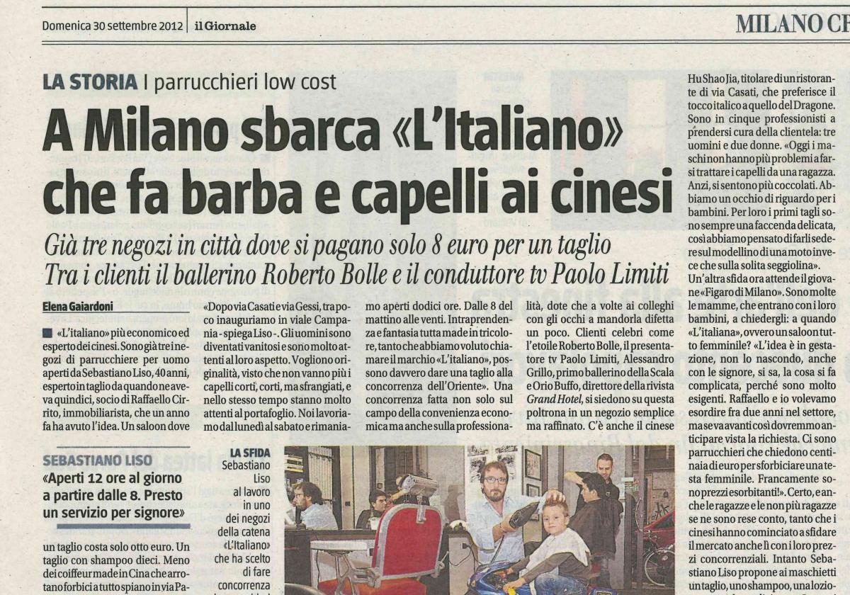 L'Italiano Parrucchieri Milano articolo su Il Giornale